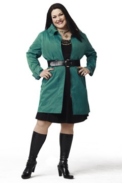 Brooke Elliott belted green jacket knee high black boots