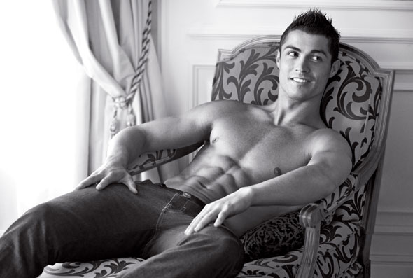 cristiano ronaldo armani jeans ad 2010 chair shirtless abs