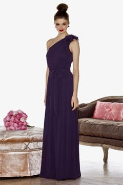 Cynthia Rowley bridesmaid line purple satin one-shoulder column