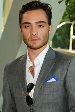 ed westwick white shirt gray jacket pocket square sunglasses 2010 CFDA Awards