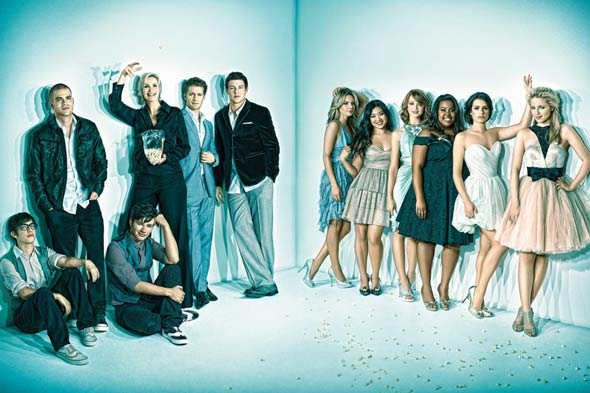 Glee cast members Emmy Magazine glam