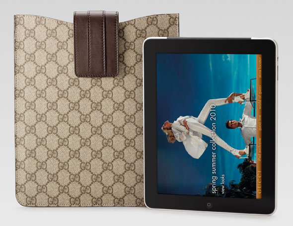 Gucci monogrammed iPad case brown