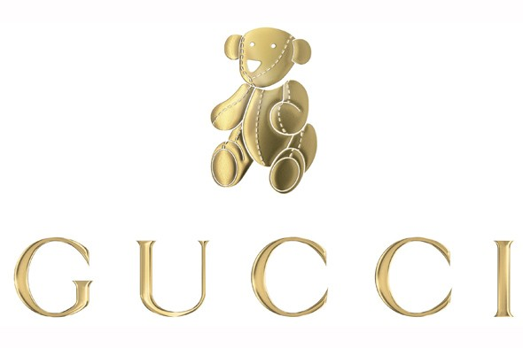 GUCCI Kids Clothing Line Teddy bear logo gold