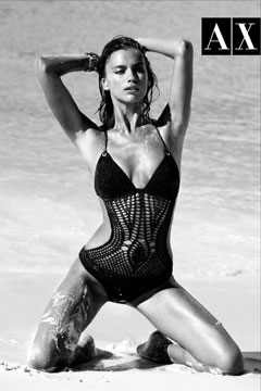 irina shayk armani exchange summer 2010 swimwear collection crocheted one-piece swimsuit