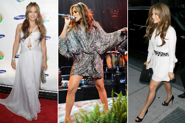 Jennifer Lopez three different outfits white gown green sequin mini dress white mini dress Samsung Four Seasons of Hope Gala