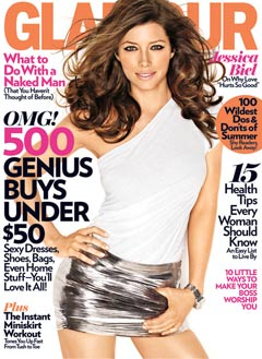 jessica biel glamour july 2010 cover one-shoulder white top silver miniskirt