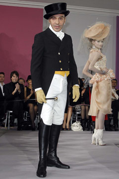 John Galliano top hat riding boots
