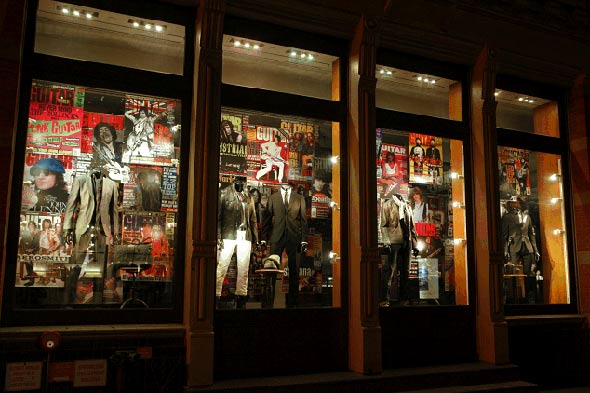 John Varvatos Store Guitar World Window Displays