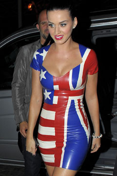 Katy Perry American Flag Union Jack Dress World Cup 2010