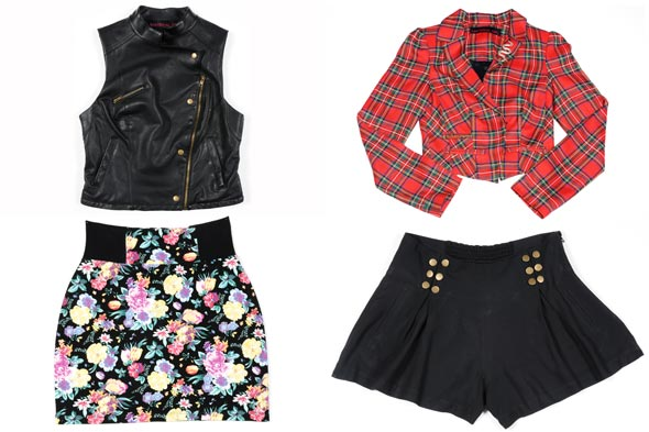 Madonna Material Girl clothing line Macys leather vest floral skirt plaid jacket black shorts