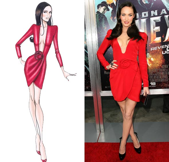 megan fox jonah hex premiere red dress sketch giorgio armani prive plunging neckline red carpet black pumps