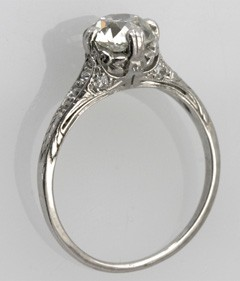 megan fox platinum engangement ring 1930s old mine cut filigree sides and pavé diamonds