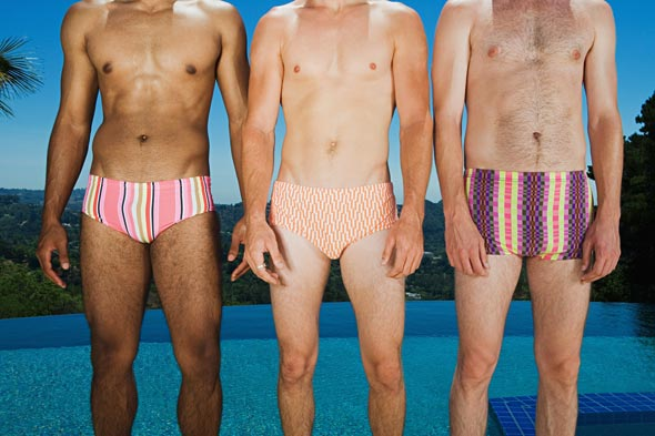 men in speedo bathing suits patterned water