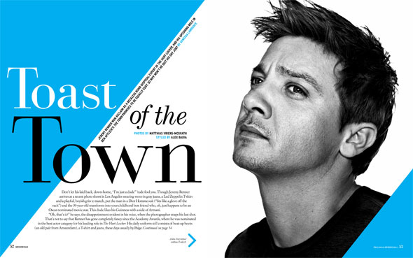 jeremy renner menswear magazine inside black top toast of the town