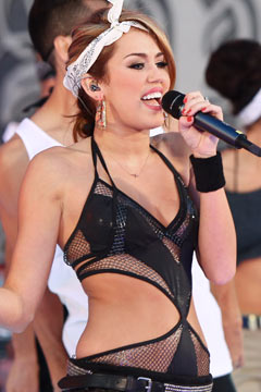 miley cyrus bandana black mesh cut-out leotard much music awards performance