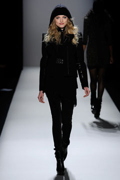 nicole miller fall 2010 runway all black pants jacket hood