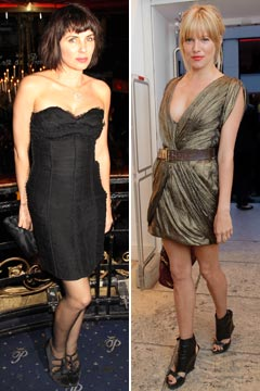 Sadie Frost black strapless dress Sienna Miller green mini dress