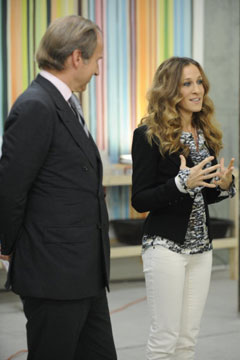 Sarah Jessica Parker Simon de Pury Bravo's 'Work of Art' white pants black blazer