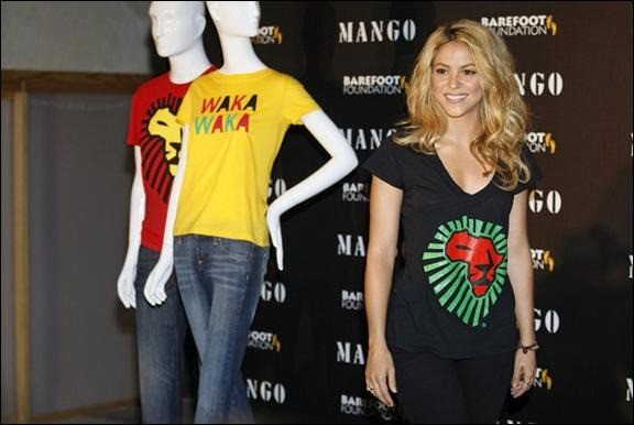 Shakira mango t-shirts unicef south african 2010 world cup waka waka lion