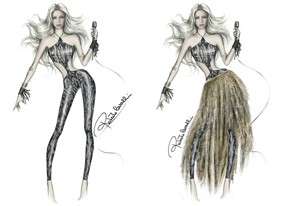 shakira world cup 2010 performance black leotard cutouts fringe skirt