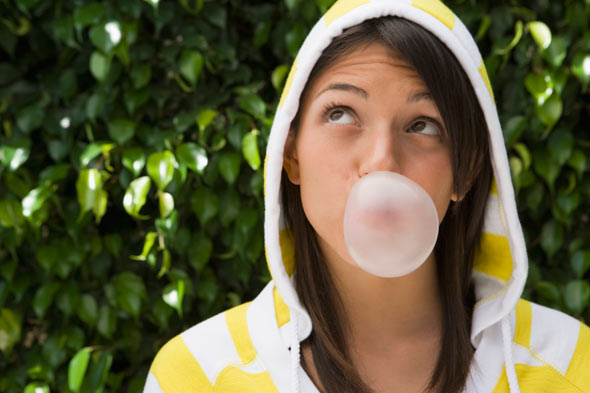 yellow white striped hoodie teen gum bubble