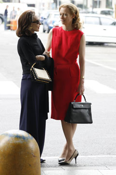 tilda swinton red dress black purse I Am Love Marisa Berenson