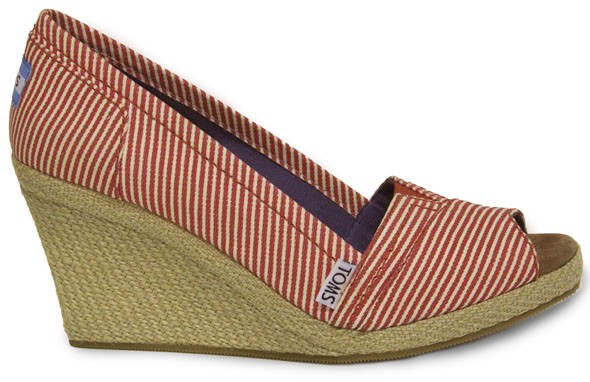 toms shoes wedges peep-toe red and white striped espadrille