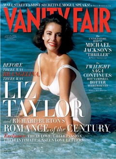 Liz Taylor Vanity FairJuly 2010 cover white swimsuit