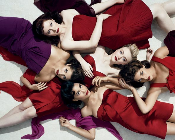 The Twilight Saga: Eclipse ladies vanity fair july 2010 red dresses purple Ashley Greene Bryce Dallas Howard Dakota Fanning Nikki Reed Julia Jones