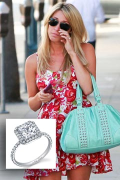 vienna girardi crying floral dress blue handbag engagement ring