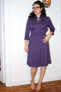 woman purple dress