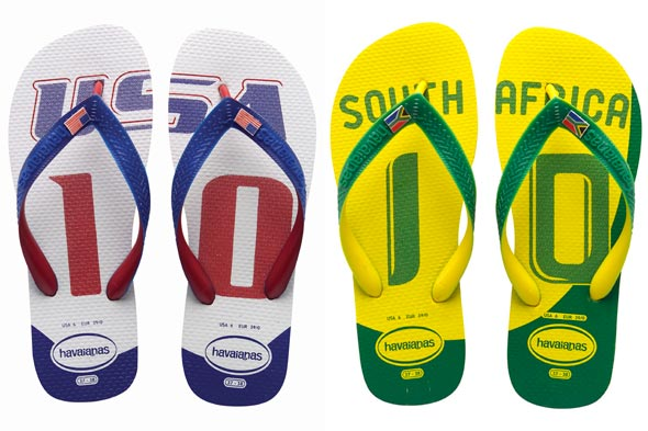 World Cup Havaianas USA red white blue South Africa green yellow