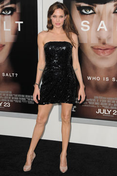 Angelina Jolie Emporio Armani black strapless beaded cocktail minidress
