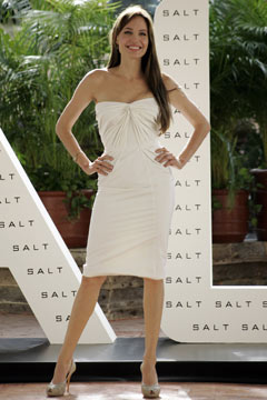 Angelina Jolie white dress nude pumps salt photo call