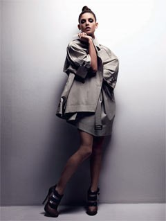 Ashley Greene ASOS magazine july 2010 tan trench coat booties