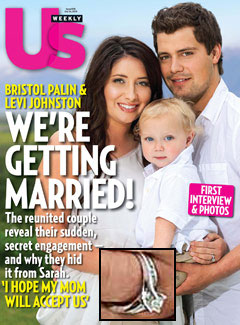 Us Weekly Bistol Palin A.L.C. frock engagement ring Levi Johnston white Calvin Klein shirt son Tripp