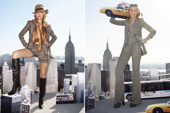 cameron diaz harpers bazaar august 2010 New York City skyscraper 70's inspired menswear outfits