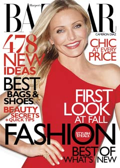 cameron diaz harpers bazaar august 2010 cover one-shoulder red versace gown