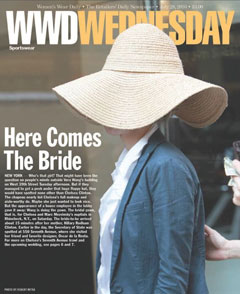 WWD cover July 28 chelsea clinton floppy wide-brimmed hat