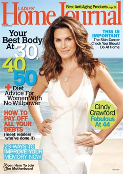 cindy crawford white dress ladies home journal august 2010 cover