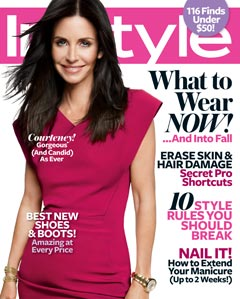 Courteney Cox InStyle August 2010 cover hot pink dress