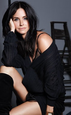 Courteney Cox InStyle August 2010 bedroom knee-high black boots black sweater lingerie