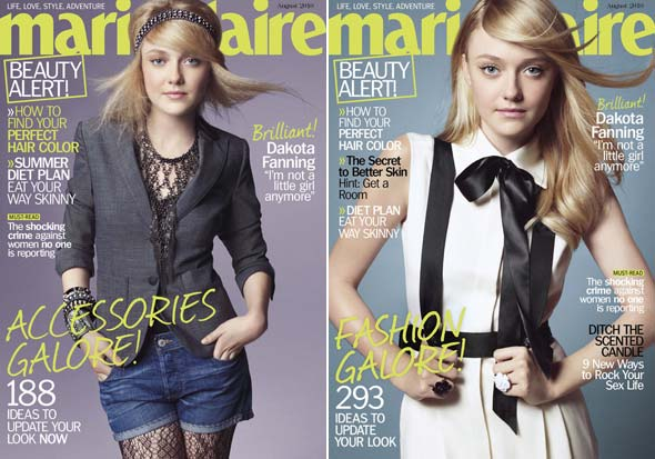 Dakota Fanning Marie Claire magazine August 2010 covers gray Rag &amp; Bone blazer denim shorts black and white dress 