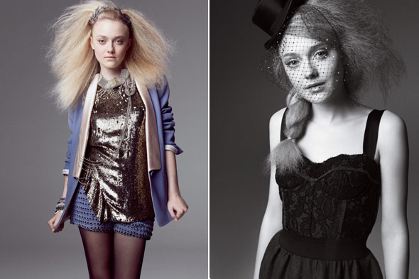 Dakota Fanning Marie Claire magazine August 2010 metallic blouse blue shorts 3.1 Phillip Lim tuxedo jacket Nina Ricci sweater black Dolce &amp; Gabbana top and skirt retro Azzaro headpiece