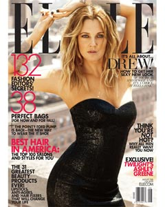 Drew Barrymore August 2010 cover Elle Magazine black Calvin Klein strapless dress