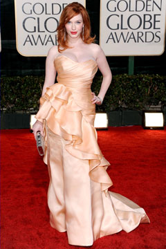 christina hendricks 2010 golden globes christian siriano peach dress