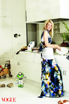 gwyneth paltrow vogue august 2010 printed gown kitchen cooking apron