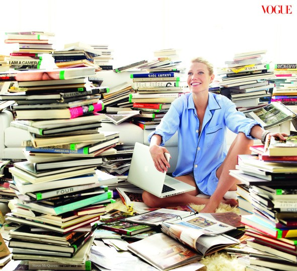 Gwyneth Paltrow Vogue August 2010 'Age Issue' pajama top stacks of books