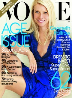 Gwyneth Paltrow blue Burberry dress Vogue cover August 2010 'Age Issue'