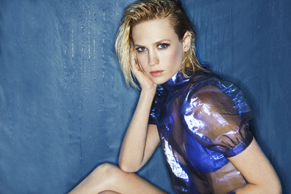 january jones blue sheer top blue bra malibu magazine Blue Issue